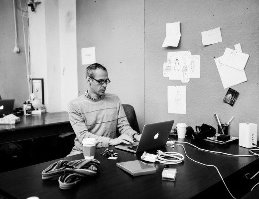 Alex Blumberg at work in the Gimlet office. PHOTO: Emily Assiran/New York Observer