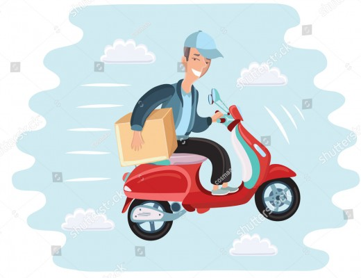 stock-vector-vector-cartoon-illustration-of-courier-rides-on-scooter-fast-delivery-man-fly-in-the-sky-with-box-481604986